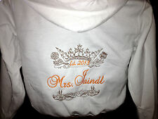 Personalized Bridal Bride  Mrs. Soon to be Hoodie Hoody Sweatshirt Honeymoon