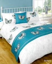 5pc BOTANIC TEAL DESIGN DUVET QUILT COVER SET + CUSHION + BED RUNNER