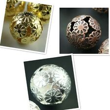 20Pcs Silver/Gold/Bronze Plated Metal Filigree Spacer Beads Jewelry Finding 20mm