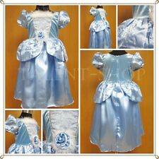 BNWT Baby Girls Blue Cinderella Princess Party Fancy Dress Costume Age 2-9 Years