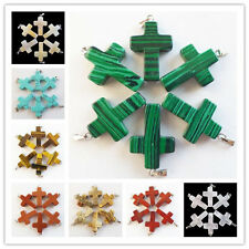 DX_20 Beautiful Carved Mixed Stone Cross Pendant Bead 6Pcs