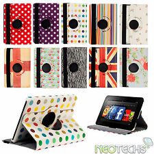 Leather Rotating 360 Case Cover Wallet for Amazon Kindle Fire HD 1st & 2nd Gen