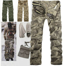 Men Cotton Casual Military Army Cargo Camo Combat Work Pants Trousers NoBelt R49