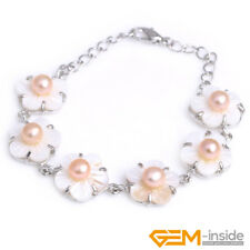 Natural 6-7mm Freshwater Pearl Beads Mop Shell Flower White Gold Plated Bracelet