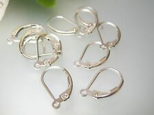 Solid sterling silver Leverback earrings findings setting w/ open ring