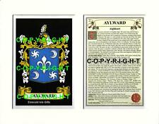 AYLWARD Family Coat of Arms Crest + History - Available Mounted or Framed