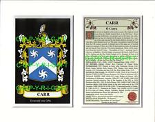 CARR Family Coat of Arms Crest + History - Available Mounted or Framed