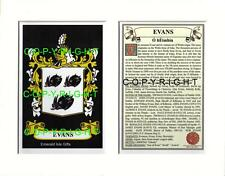 EVANS Family Coat of Arms Crest + History - Available Mounted or Framed