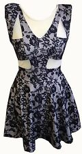 NEW WOMENS BLACK LACE NUDE CUT OUT MESH INSERT PADDED SHOULDER SKATER DRESS