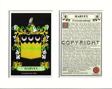 HARVEY Family Coat of Arms Crest + History - Available Mounted or Framed