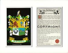 MCDONNELL Family Coat of Arms Crest + History - Available Mounted or Framed