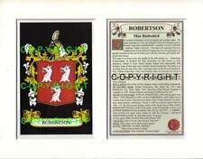 ROBERTSON Family Coat of Arms Crest + History - Available Mounted or Framed