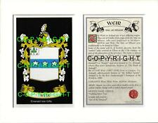 WEIR Family Coat of Arms Crest + History - Available Mounted or Framed