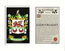 KAVANAGH Family Coat of Arms Crest + History - Available Mounted or Framed