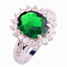 Merry Christmas Emerald Quartz & White Topaz Gemstone Silver Ring Sz 6 7 8 9 10