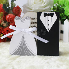 New Tuxedo Dress Groom Bridal Wedding Gift Candy Favors Boxes With Ribbon
