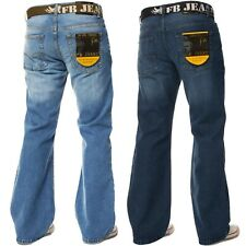 New Mens FBM Bootcut Branded Regular Leg Fit Jeans Denim All Waist Size Blue