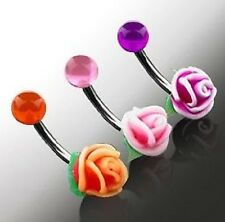 NEW Soft Silicone Rose Belly Bar Navel Ring Piercing (E20)