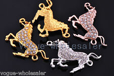 New Arrived Charms Horse Crystal Rhinestone Bracelet Finding Connector 40x22mm