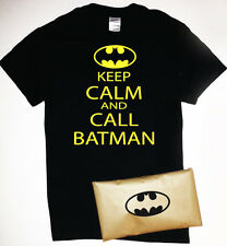 Keep Calm and Call Batman T-Shirt with Batman Symbol Packaging Mens Womens Funny