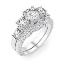 4 CARAT .925 STERLING SILVER ROUND WEDDING ENGAGEMENT RING SET SIZE 5 6 7 8 9