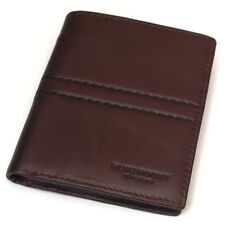 New Mens Brown Leather Wallet Bifold 6 Card Slot Zippered Pocket Purse mj3492