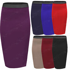 NEW WOMENS BODYCON STRETCH WAIST PENCIL SKIRTS LADIES MIDI SKIRT LONG WORK LOOK