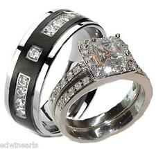 His and Hers Wedding Rings 3 Pc Sterling Silver & Titanium Engagement Ring Set
