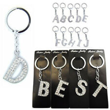 Alphabet Keyring A-Z Initial Letter Key Ring Shiny Crystal Silver Key Chain Tag