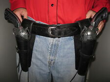 Gun Belt Rig with Left & Right Smooth Holster - Black - Leather - Sizes 34 to 52