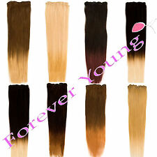 Premium Clip-in Dip Dye Ombre Remy Human Hair Extensions All Colours