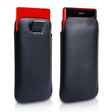 REAL  GENUINE  LEATHER PULL TAB SLIDE IN CASE COVER POUCH NOKIA BLACK