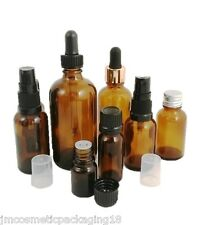 Amber Glass Dropper Bottle 10ml -100ml Size Aromatherapy Herbals Oils CHOOSE CAP