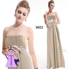 09652 Rhinestones Chiffon Khaki Strapless Evening Long Bridesmaid Dress 8-18