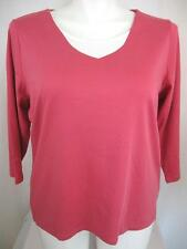 NWOT Coldwater Creek Plus Size 3/4 Sleeve Rose Top w/White Insert