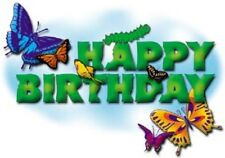 HAPPY BIRTHDAY BUTTERFLY EDIBLE IMAGE CAKE TOPPER! FOR CUPCAKES & COOKIES TOO!