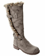 WOMENS BROWN FAUX FUR TRIM SLOUCH KNEE LENGTH WINTER BOOTS LADIES UK SIZE 3-8