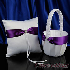 White Wedding Flower Girl Basket & Ring Pillow Set Rhinestone & Purple Bowknot