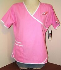 Philadelphia EAGLES NFL Ladies Breast Cancer Awareness Wrap Scrub Top Pink New