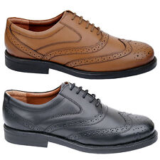 Mens New Black / Brown Leather Lace Up Formal Brogues Shoes Free Uk Postage