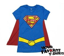Supergirl Superman Costume Shirt With Cape Glitter Licensed Juniors S-XL