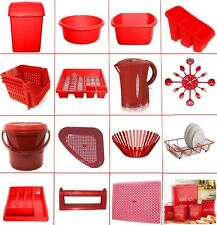 PLASTIC 50L SWING BIN DISH DRAINER STACKER WASHING UP BOWL CADDY RED KETTLE SET