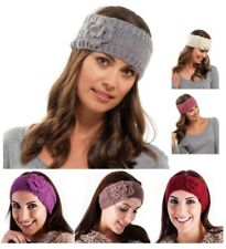 WOMENS GIRLS LADIES WOOL KNITTED HEADBAND WINTER SKI HAIR BAND EARMUFFS FLOWER