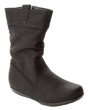 GIRLS BLACK SLOUCH MID CALF CASUAL WINTER BOOTS WITH SIDE ZIP UK SIZE 8-2