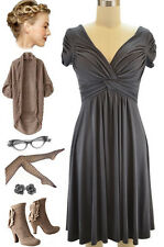 CHARCOAL V-Neck GATHERED DETAILING Casual Chic GRECIAN Goddess CAP SLEEVE Dress
