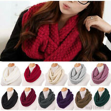 New Womens Winter Warm Infinity 2 Circles Cable Knit Cowl Neck Long Scarf Shawl