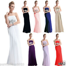 Sexy Chiffon Strapless Evening Long Formal Prom Bridesmaid Dress UK 8-18