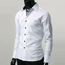 NEW Handsome Mens casual slim fit dress Polyester shirts IN Black/White S M L XL