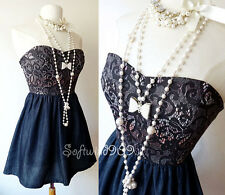 NEW Dark Denim/Black Lace Printed Bodice Sweetheart Fit & Flare Strapless Dress