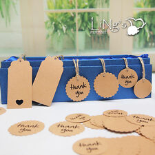 Rectangle Round Scallop Kraft Gift Tags Wedding Party Favor Hang Cards